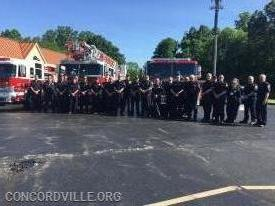 Concordville and Bethel Firefighters before the parades
